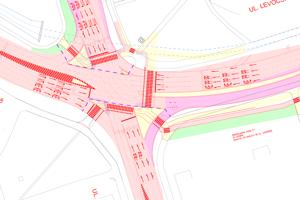 Koordinačný výkres ukazuje nové radenie jazdných pruhov po rekonštrukcii križovatky.