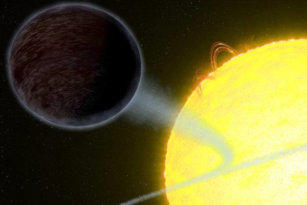 Umelecké zobrazenie temného horúceho Jupitera v blízkosti hviezdy.