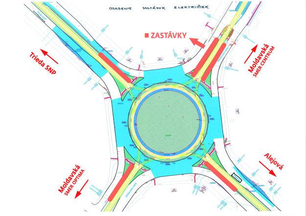 Električky sa už nebudú križovať ako doteraz, ale budú premávať po obvode kruhovej križovatky. Oranžovou farbou sú vyznačené budúce nové zastávkové ostrovčeky. Štandardne sa budú využívať iba tie dve protiľahlé na Moldavskej ceste na strane centra mesta.