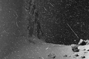 Zábery z kométy 67P pripomínajú snehovú búrku na Zemi. Na kométe v skutočnosti nesneží.