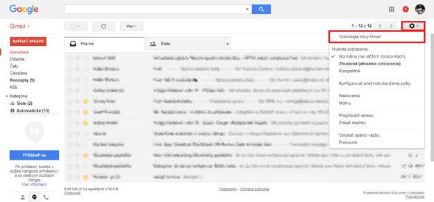 V Gmaili kliknite na ikonu ozubeného kolieska a v ponuke vyberte položku Vyskúšajte nový Gmail.