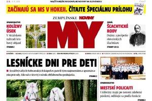 Titulná strana týždenníka MY Zemplínske noviny č. 17/2018.