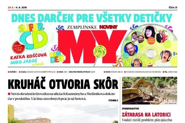 Titulná strana týždenníka MY Zemplínske noviny č. 21/2018.