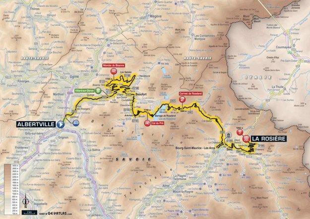 Mapa 11. etapy Tour de France 2018.