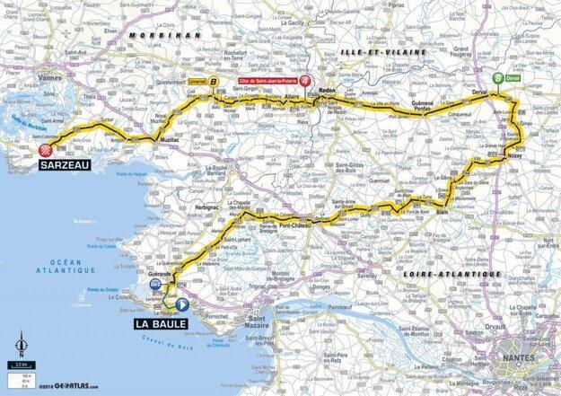Mapa 4. etapy Tour de France 2018.