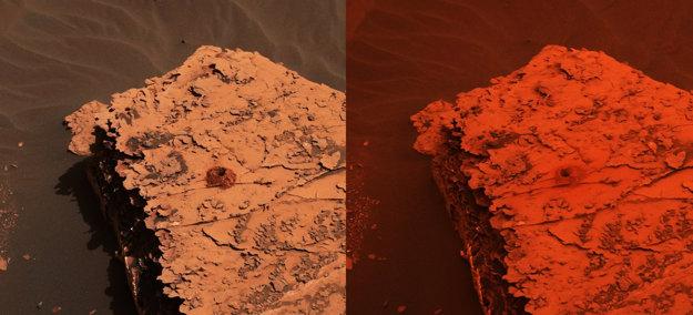 Záber z kamery Curiosity ukazuje zmenu svetla pred a počas búrky. Ľavý záber pochádza z 21. mája, pravý zo 17. júna.