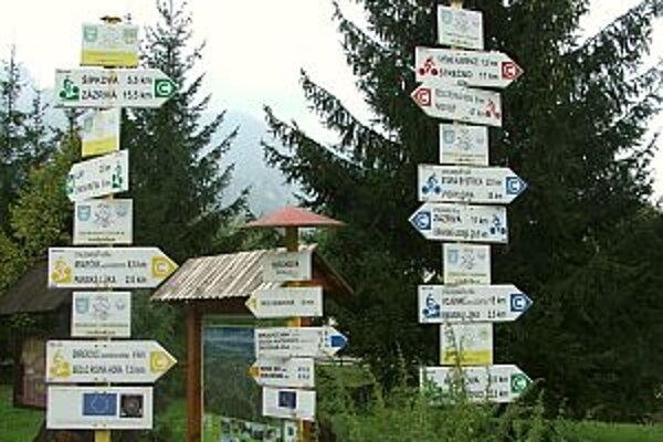 Informačné tabule pre turistov v Terchovej.
