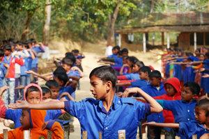 Telocvik v škole v Chandigowne.