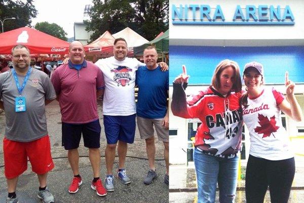 Vľavo realizačný tím USA U14, vpravo fanúšičky z Kanady.