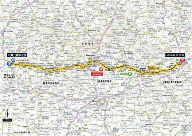 Mapa 7. etapy Tour de France 2018
