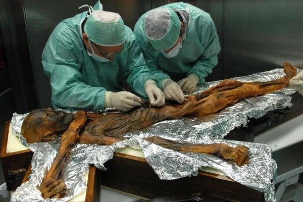 Výskum obsahu Ötziho žalúdka.