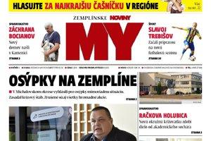 Titulná strana týždenníka MY Zemplínske noviny č. 28/2018.