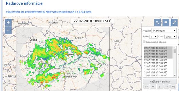 Radarový pohľad, 18.00 h
