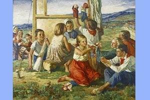 Obraz Deti mieru od akademickej maliarky Márie Medveckej.