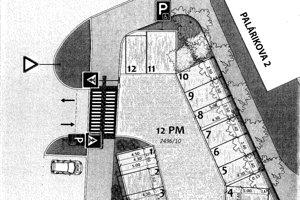 Schéma parkovacích miest ukazuje, kde budú situované (označené číslami od 1 do 12). Z nej je zrejmé, že sú naplánované priamo pod oknami bytov.