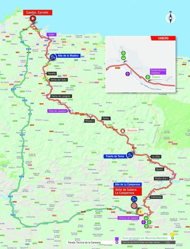Mapa 13. etapy pretekov Vuelta 2018. (zdroj: lavuelta.es)
