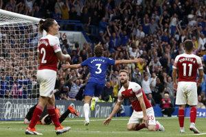 Marcos Alonso sa raduje zo svojho gólu v zápase Chelsea - Arsenal.
