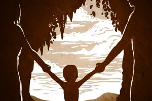 Kresba neandertálskej matky a otca denisovana s ich dieťaťom - dievčatkom - v jaskyni Denisova.