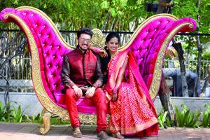 Indickí mladomanželia.