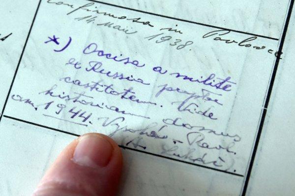 Zápis vkrstnej matrike Farského úradu Pavlovce nad Uhom vkolónke poznámka oobete svätej čistoty zroku 1944.