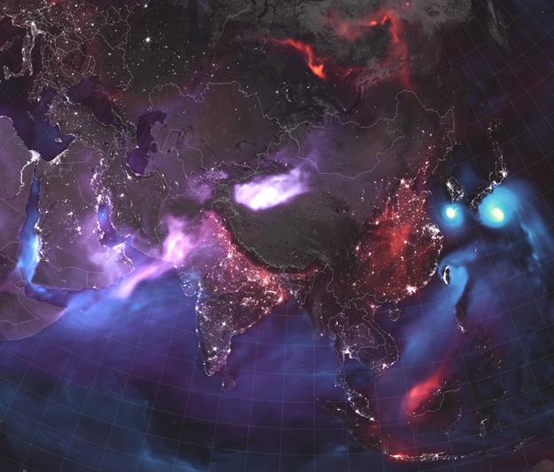 Aerosóly vo vzduchu nad Áziou. Svetlofialová predstavuje prach z púští, červená priemyselné a dopravné emisie a popol z požiarov, modrá morské soli z búrok.