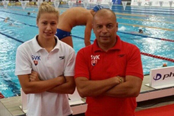 Andrea Podmaníková a tréner Vladimír Železník.