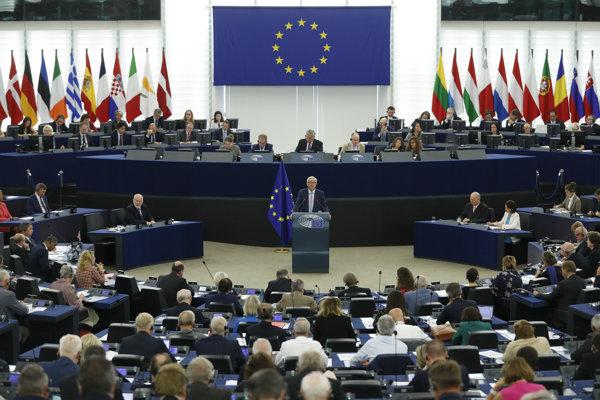 Jean-Claude Juncker počas prejavu o stave Únie.