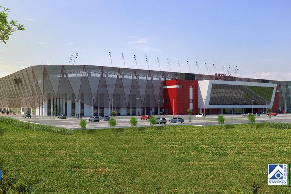 Vizualizácia nového futbalového štadióna.