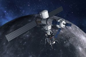 Umelecké zobrazenie landeru na lunárnej stanici Gateway.