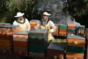 František Ontkoc (vľavo) a Ján Szczygeľ. Svokor a zať včelária spolu už šesť rokov. Majú 58 včelích rodín. Už sú zazimované.