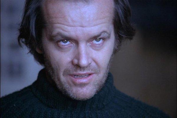 Jack Nicholson ako zlovestný Jack Torrance vo filme Osvietenie.