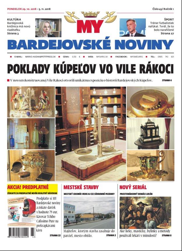 Titulka nového vydania týždenníka MY Bardejovské noviny č.43.