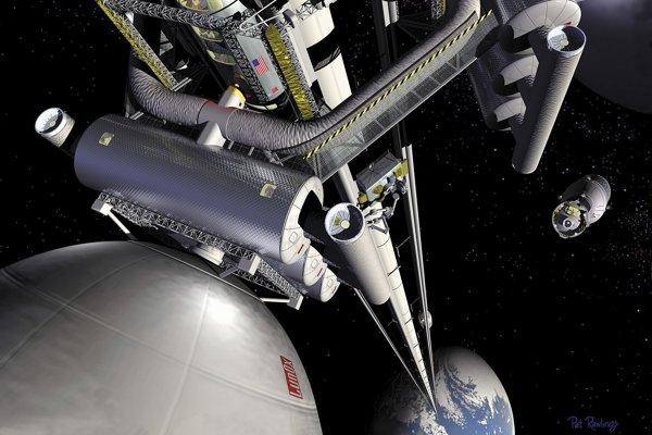 Umelecká predstava o vesmírnom výťahu zo Zeme.