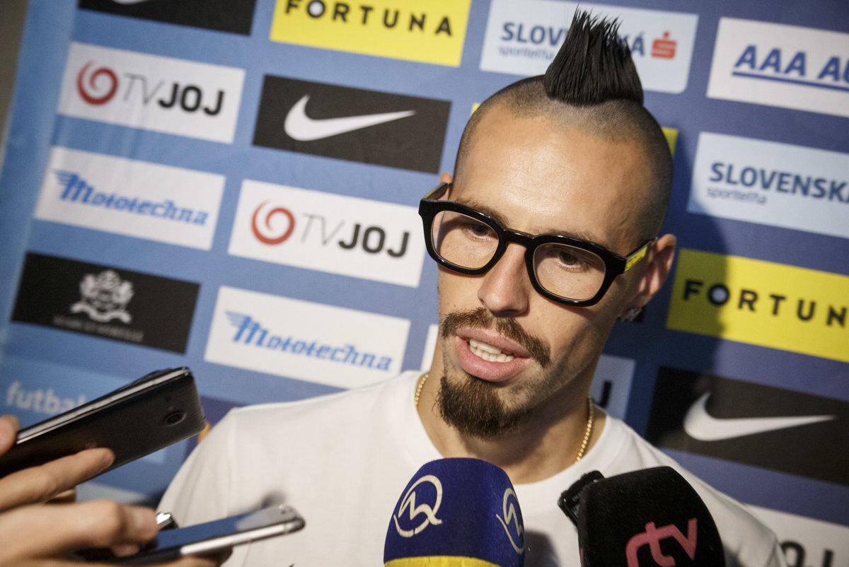 616d0391dc Slovenský futbalový reprezentant Marek Hamšík počas tlačovej konferencie na  zraze reprezentácie pred dvojzápasom Ligy národov proti