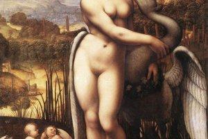 Léda a labuť. Kópia strateného originálu od Leonarda da Vinciho.