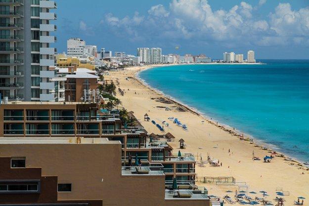 Cancún, pobrežný úsek.