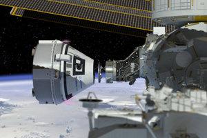 Ilustrácia lode Starliner pri dokovaní k ISS.