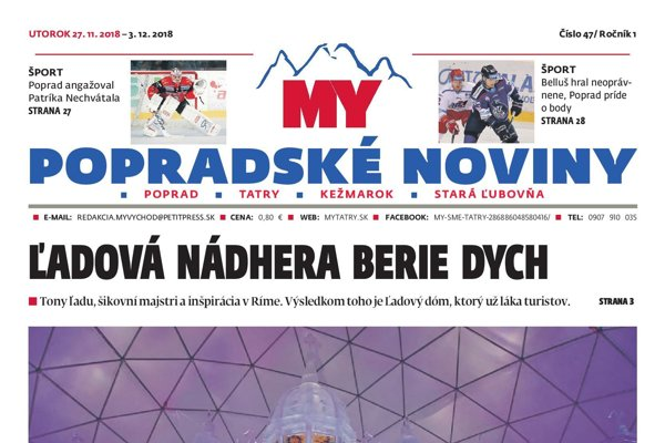 Titulná strana týždenníka MY Popradské noviny č. 47/2018.