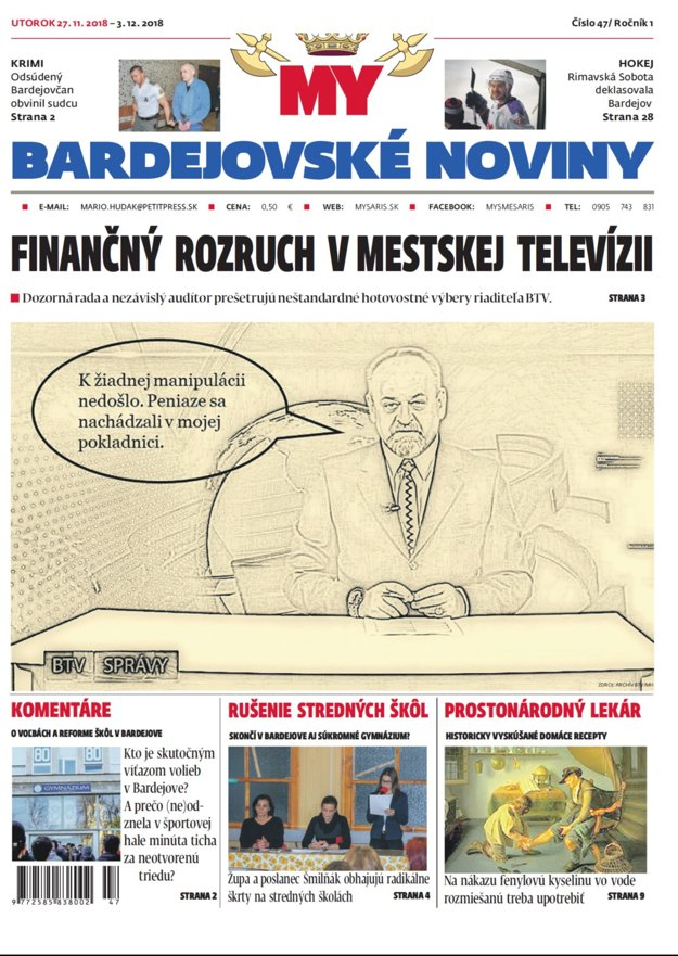 Titulná strana nového vydania týždenníka MY Bardejovské noviny č.47.