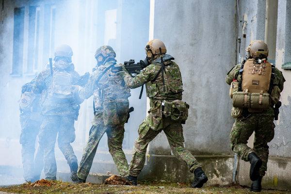 Príslušníci 5. pluku špeciálneho určenia zo Žiliny počas certifikačného cvičenia síl pre špeciálne operácie SAMSON 2018 vo vojenskom výcvikovom priestore Lešť.