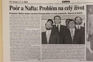 """Denník SME z3.marca 2003.Včlánku Vladimír Poór oznamuje """"definitívny koniec"""" spolitikou."""