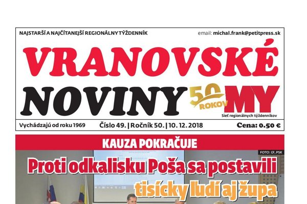 Titulná strana týždenníka Vranovské noviny č. 49/2018.