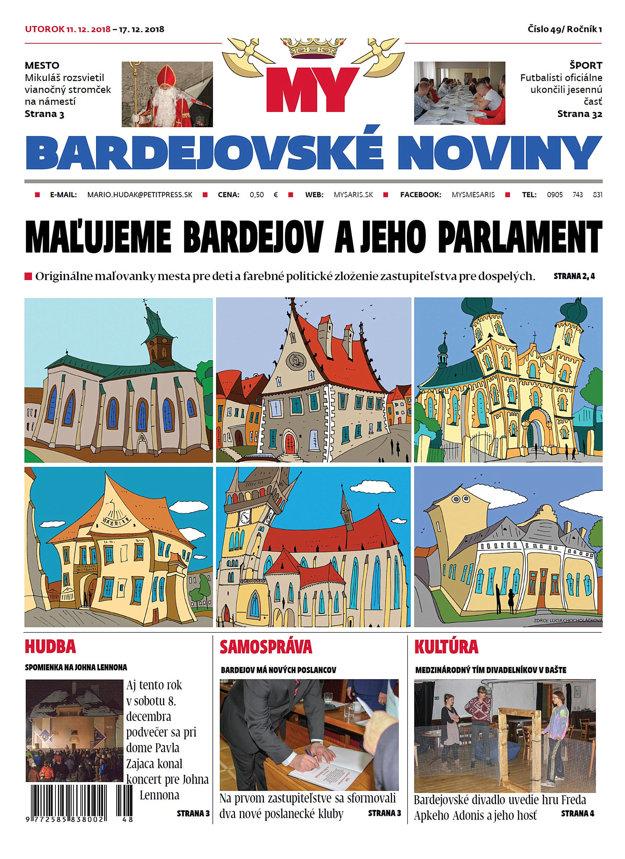 Titulná strana nového vydania týždenníka MY Bardejovské noviny čislo 49.