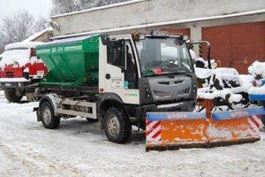 Zimná údržba v meste Vranov.