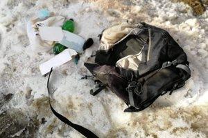 Ruksak, v ktorom mala byť údajná bomba.