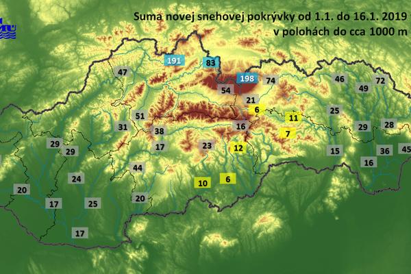 Množstvo napadaného snehu od 1. do 16. januára v nadmorských výškach do 1000 metrov.
