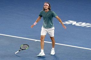 Grék Stefanos Tsitsipas po víťazstve nad Rogerom Federerom v osemfinále Australian Open 2019.