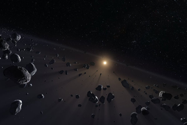 Vizualizácia Kuiperovho pásu, ktorý sa nachádza za Neptúnom.