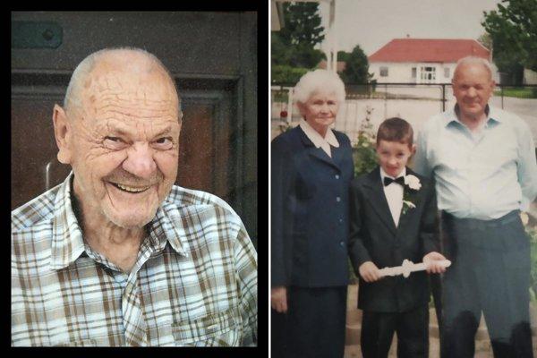 Ladislav Fábry z Nových Sadov zomrel v nedeľu vo veku 88 rokov. Na archívnej snímke vpravo je pán Fábry s manželkou, ktorá zomrela pred mesiacom... Medzi nimi mladý Marek Fábry.