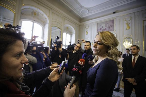 Ministerka vnútra Denisa Saková počas prijatia u prezidenta Andreja Kisku.